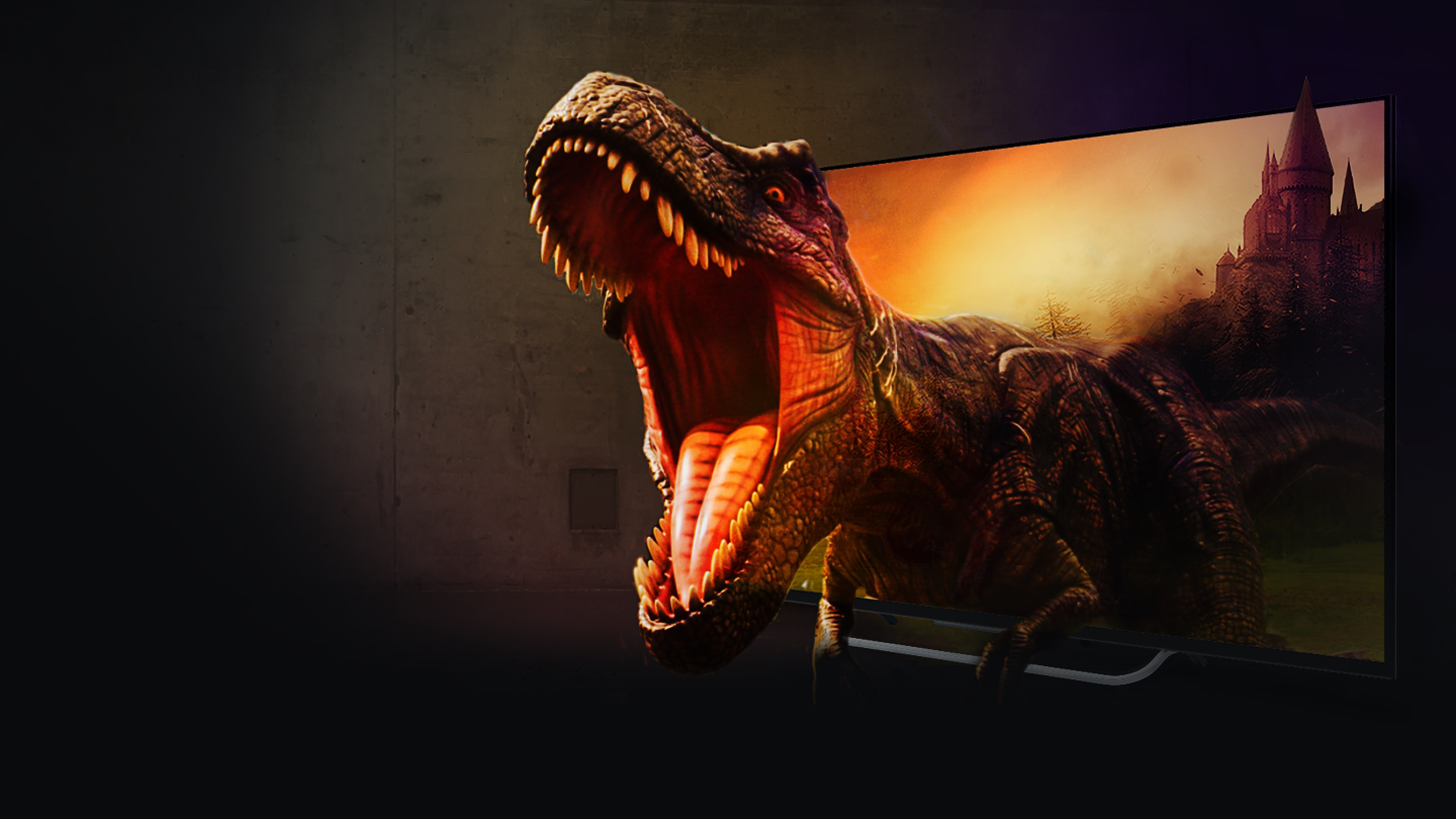 T-rex coming out of a 4K TV